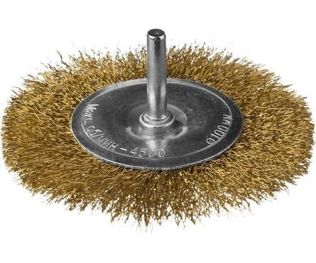 Щетка дисковая для УШМ, витая стальная латунированная проволока 0,3мм, 125ммх22мм DEXX.