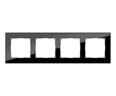 Рамка 4 Поста Универсальная Черный Стекло Favorit Werkel Фотография_0
