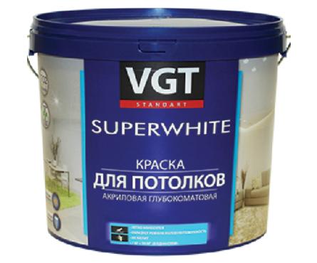 Краска ВД VGT для потолков супербелая 15 кг