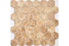 Мозаика Caramelle Mosaic Pietrine Hexagonal Emperador light MAT hex матовая, 292х298 мм, чип 18х30 мм