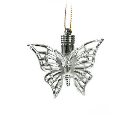 Подвеска световая Бабочка серебряная (батарейки в комплекте), 5,5 см, 1 LED, RGB  Фотография_0