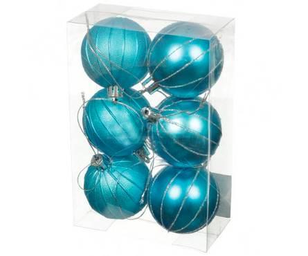 Набор шаров SY16-33, голубые матовые, диаметр 6 см (6 шт) Фотография_0