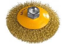 Щетка коническая для УШМ, витая стальная латунированная проволока 0,3мм, 100мм STAYER PROFESSIONAL