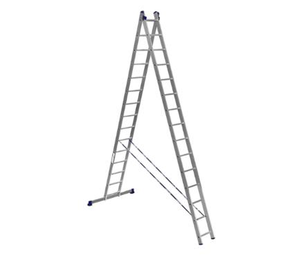 Лестница алюм. 2-х секц.15 ступеней HS2 6215 (высота 423/759 см, вес 18,50 кг)