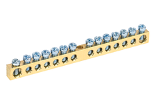 Шина нулевая N без изолятора на DIN-рейку 6х9 мм, 10-14 групп, крепление по центру