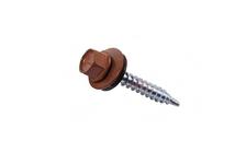 Саморез кровельный 4,8х19 мм, оцинкованный, RAL 8017 коричневый (100 шт/уп)