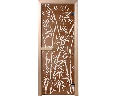 Дверь Банные штучки из стекла Бамбук и бабочки 1,9х0,7м