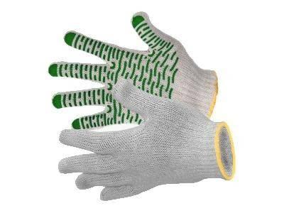 Перчатки х/б с ПВХ 7,5 класс Зеленые 5 нитей Фотография_0