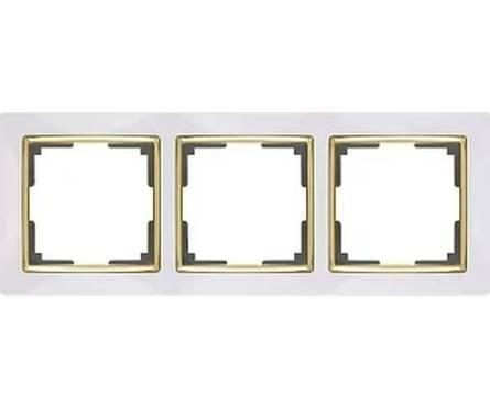 Рамка 3 Поста Универсальная Белый-Золото Snabb Werkel Фотография_0