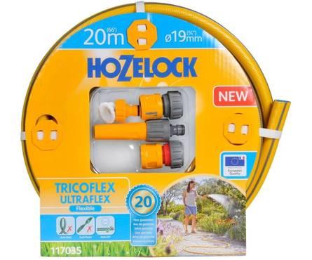 Набор для полива HoZelock Tricoflex Ultraflex Starter Set: шланг 19 мм, 20 м, комплект фитингов Фотография_0