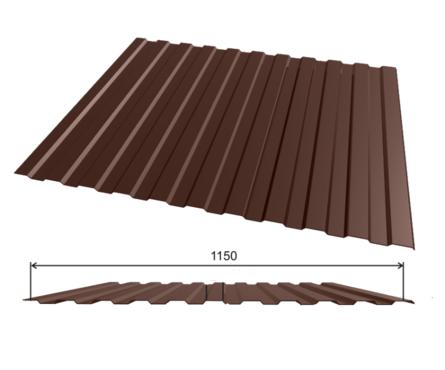 Профлист оцинкованный С-8 (0,35х1150х2000 мм.) (коричневый)  RAL8017 Фотография_0