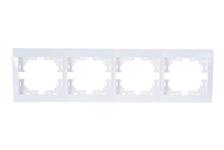 Рамка Lezard MIRA 4 поста, горизонтальная, белая, без вставок