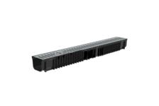 Лоток пластиковый Steelot SteePlain DN100 H100 в комплекте со стальной оцинкованной решеткой, класс нагрузки А15
