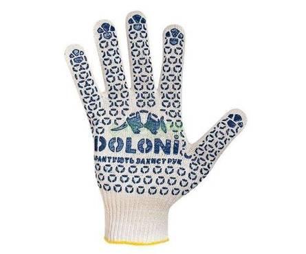 Перчатки трикотажные Долони Универсальные белые с ПВХ рисунком 10 класс  Фотография_0