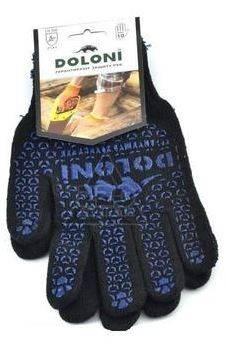 Перчатки трикотажные Долони Универсальные Черные с ПВХ рисунком 10 класс  Фотография_0