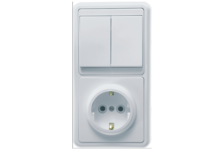 Блок БКВР-032 Кунцево-Электро (выключатель 2 клавиши +розетка с/з) белый