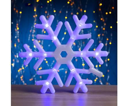 Фигура Luazon Lighting Снежинка, диаметр 25 см, синее свечение, 30 LED, 220V, контроллер, 8 режимов, пластик Фотография_0