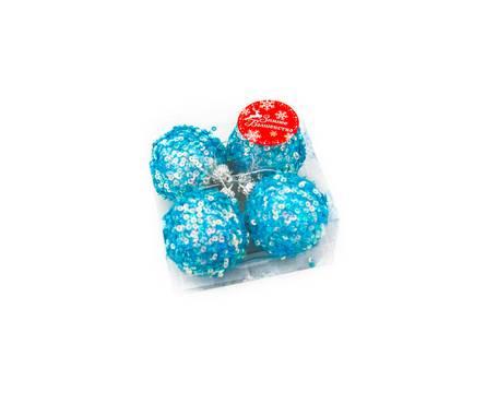 Набор шаров Голубой блеск диаметр 6 см (4 шт)  Фотография_0