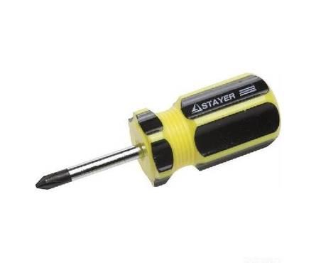 Отвертка STAYER MASTER, двухкомпонентная рукоятка, магнитный наконечник, STUBBY, PH1x38мм Фотография_0