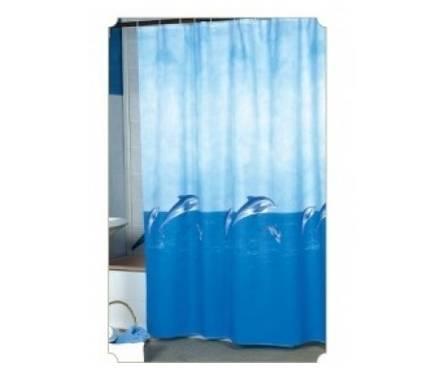 Штора для ванной 100% полиэстер эконом 170х200 (голубой фон) Фотография_0