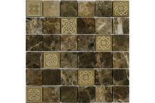 Мозаика Caramelle Mosaic Art Stone Emperador Dark матовая, 300х300х8 мм, чип 48х48 мм