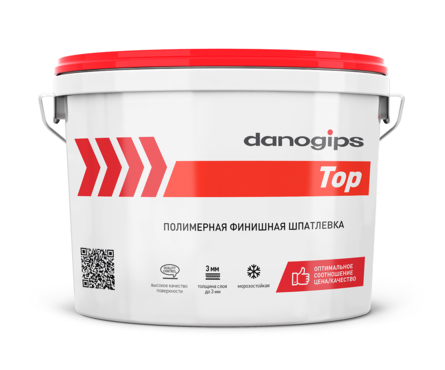 Шпатлевка полимерная DANO TOP финишная, готовая, 10 л/16.5 кг Фотография_0