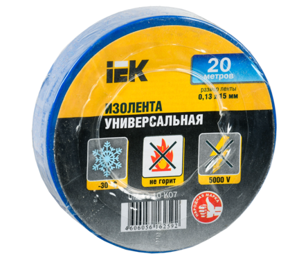 Изолента IEK ПВХ синяя, ширина 15 мм, длина 20 м Фотография_0