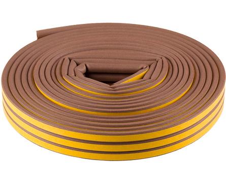 Уплотнитель Зубр самоклеящийся резиновый, профиль D, коричневый, 16 м Фотография_0