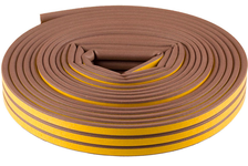 Уплотнитель Зубр самоклеящийся резиновый, профиль D, коричневый, 16 м