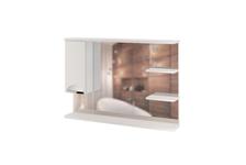 Шкаф навесной MIXLINE Этьен 100 левый, с подсветкой, белый (ПВХ)