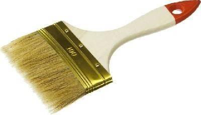 Кисть плоская Зубр Универсал-Оптима,светлая натуральная щетина, деревянная ручка, 100мм