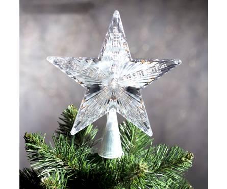 Верхушка Звезда белая ёлочная 17*17 см Мульти, пластик прозрачный Фотография_0