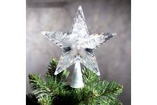 Верхушка Звезда белая ёлочная 17*17 см Мульти, пластик прозрачный