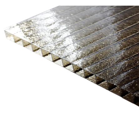 Сотовый поликарбонат CARBOGLASS Премиум Колотый лед 6 мм, бронза (12x2,1 м) Фотография_0