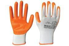 Перчатки MASTER COLOR белые, полиэстер с обливкой из нитрила (кислото-щелочно стойкие; водоотталкивающие), р-р L/10