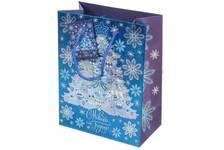 Пакет подарочный Елочка в голубом 17.8х22.9х9.8 см