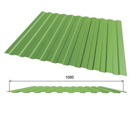 Профлист оцинк С10 (0,45х1080х2000 мм.) (св-зел.) RAL6002 Фотография_0