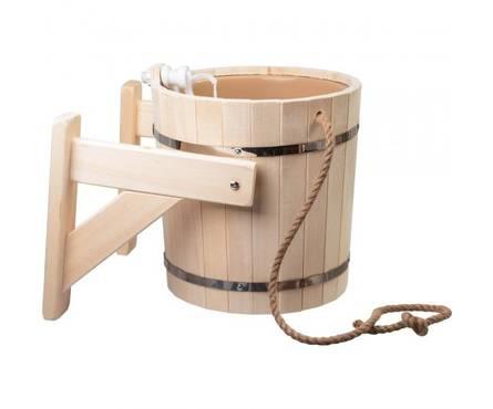 Русский душ на 16 л, липа, обливное устройство c пластиковой вставкой и наливным клапаном в коробке Банные штучки