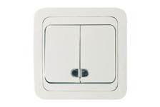 Выключатель MAKEL Мимоза 2кл с подсветкой белый/белый