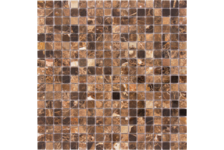 Мозаика Caramelle Mosaic Pietrine Emperador Dark полированная, 305х305х4 мм, чип 15х15 мм