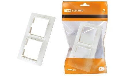 Рамка Таймыр белая 2-х постовая горизонтальная TDM Фотография_0