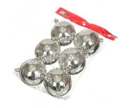 Набор шаров SY16-05 серебряные блестящие, диаметр 6 см (6 шт) Фотография_0