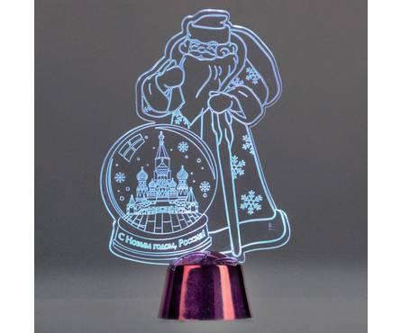 Подставка световая Дед Мороз, Москва, 14.5х9 см, 1 LED, батарейки в комплекте, RGB Фотография_0