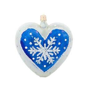 Елочное украшение Елочка Сердечко снежинка С1458, стекло, цвет голубой/белый  Фотография_0