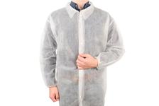 Халат на кнопках одноразовый, белый, рукава на резинках, длина 110 см, размер 52-54