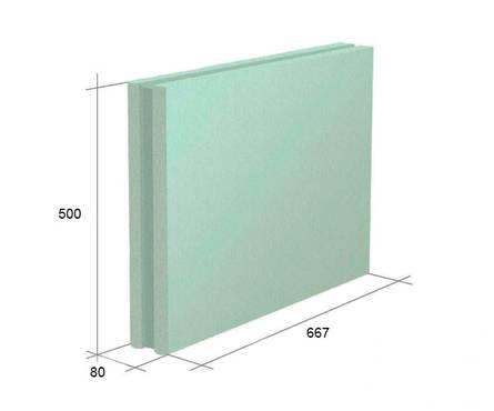 Пазогребневая плита (полнотелая) KNAUF Гидро 667х500х80мм  (10м2/30)