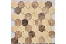 Мозаика Caramelle Mosaic Pietrine Hexagonal Pietra Mix 1 MAT hex матовая, 292х298 мм, чип 18х30 мм