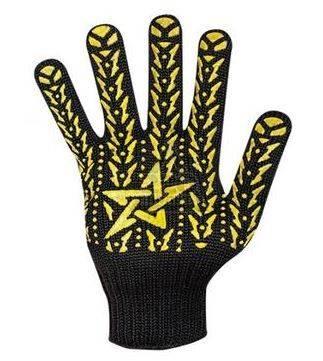 Перчатки трикотажные Долони Звезда Черные с ПВХ-рисунком 7 класс  Фотография_0
