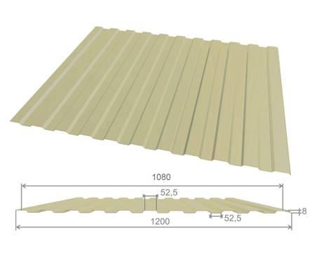 Профлист оцинк С10 (0,45х1080х2000 мм.) (сл.кость) RAL1014 Фотография_0