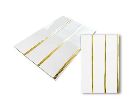 ПВХ Панель Люкс 3000*240*8мм Белый лак золото